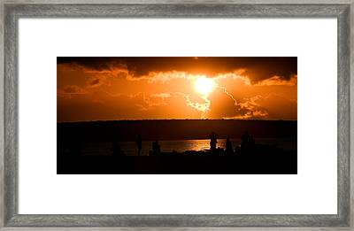 Framed Print featuring the photograph Watching Sunset by Yew Kwang
