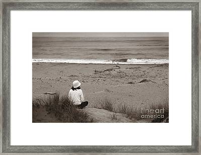 Watching The Ocean In Black And White Framed Print