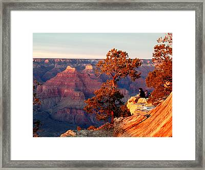 Framed Print featuring the photograph Watching The Sun Set On The Grand Canyon by Cindy Wright