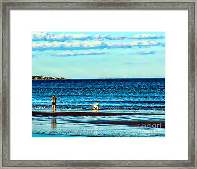 Water Dog From Dog Park Beach Series Framed Print by Alene Sirott-Cope