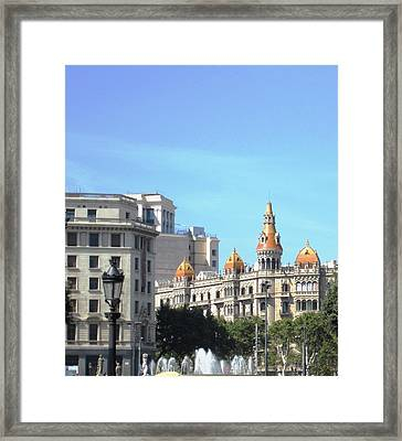 Water Fountain And Architecture In Barcelona Spain Framed Print by John Shiron