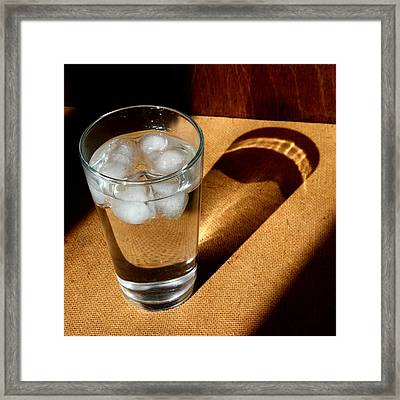Water Glass In Sun Light Framed Print by Unknown