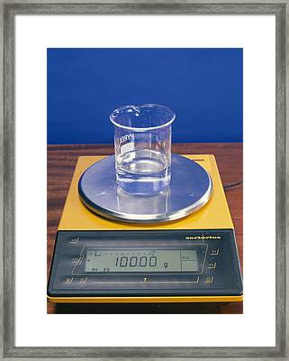 Water In Beaker On Scales Framed Print by Andrew Lambert Photography
