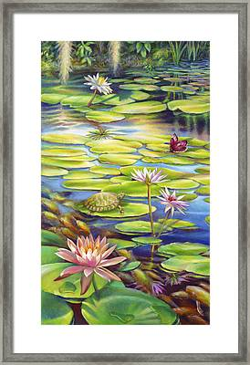 Water Lilies At Mckee Gardens I - Turtle Butterfly And Koi Fish Framed Print by Nancy Tilles