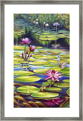 Water Lilies At Mckee Gardens II - Butterfly And Frog Framed Print by Nancy Tilles