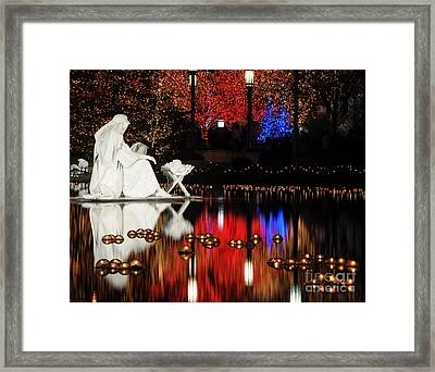 Water Christmas Nativity Scene At Night Framed Print by Gary Whitton