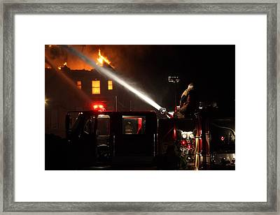Water On The Fire From Pumper Truck Framed Print by Daniel Reed