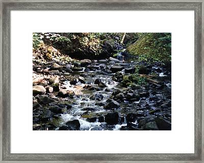 Water Over Rocks Framed Print by Maureen E Ritter