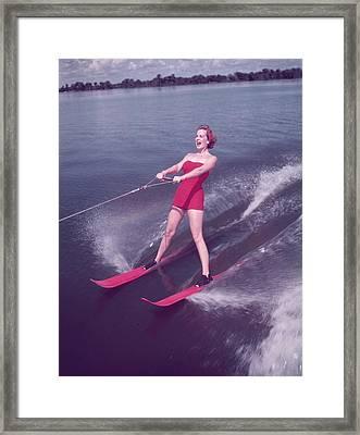 Water Skiing Framed Print by Keystone
