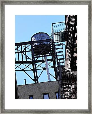 Water Tower In The Heights Framed Print by Sarah Loft