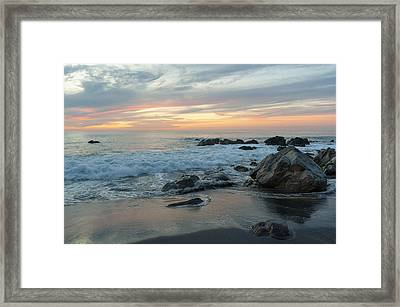 Water Washing Up On The Beach Framed Print by Keith Levit
