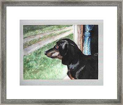 Watercolor Dog Framed Print by Kyle Gray