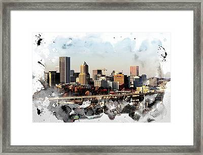 Watercolor Of Downtown Portland Framed Print by Cathie Tyler