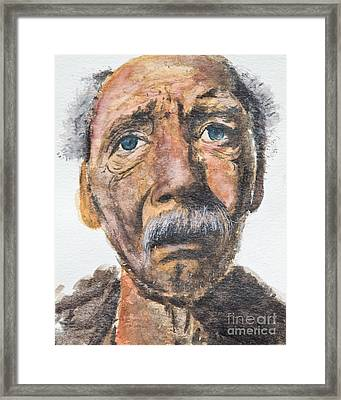 Watercolor Old Man Framed Print