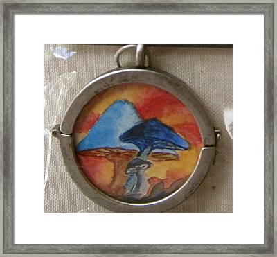 Watercolor Pendant Passion And Three Blue Mushrooms Side 2 Framed Print