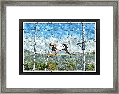 Watercolor Puzzle Design Of Pole Vault Jump Framed Print by John Vito Figorito