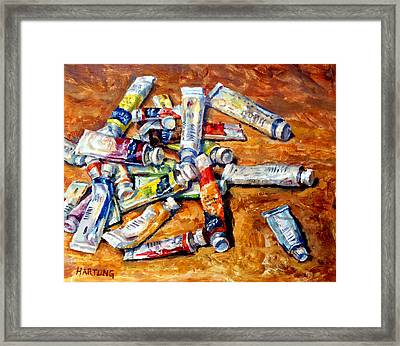 Watercolor Tubes Framed Print by Mark Hartung
