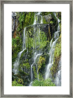 Waterfall At Columbia River Washington Framed Print by Ted J Clutter and Photo Researchers