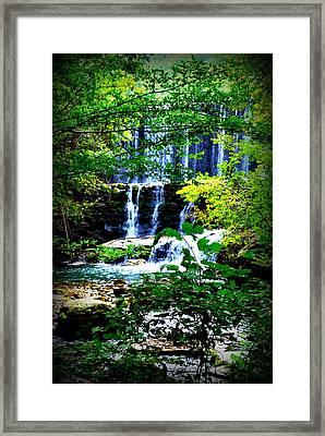 Waterfall Framed Print by Charles Covington