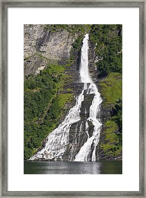 Waterfall In A Fjord, Norway Framed Print