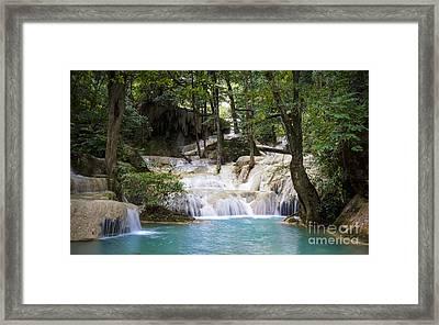 Waterfall In Deep Forest Framed Print by Setsiri Silapasuwanchai