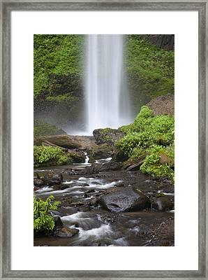 Waterfall In Gorge - Columbia River Gorge Framed Print by John Gregg