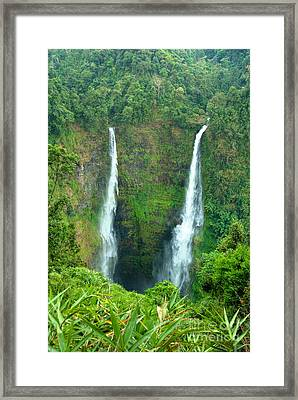 Framed Print featuring the photograph waterfall in Laos by Luciano Mortula