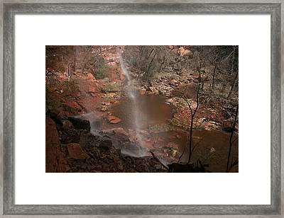 Waterfall In Zion Park Framed Print