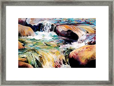 Framed Print featuring the painting Waterfall Maui by Rae Andrews