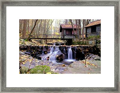 Waterfall On Friends Creek Framed Print by L Granville Laird