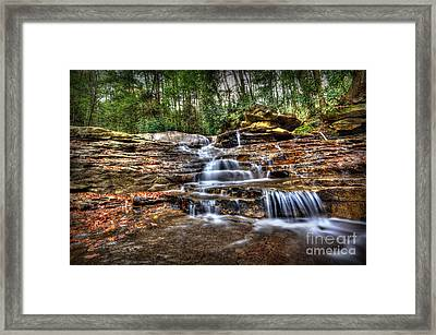 Waterfall On Small Creek Going Into The Big Sandy River Framed Print by Dan Friend