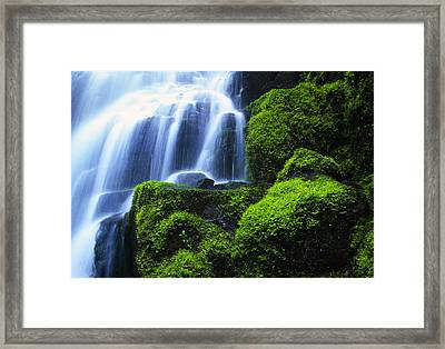 Waterfall On Wahkeena Creek, Columbia Framed Print by Natural Selection Craig Tuttle