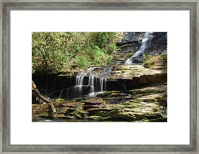 Waterfall Over Rocks Framed Print by Carrie Munoz