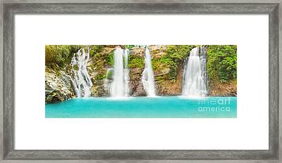 Waterfall Panorama Framed Print by MotHaiBaPhoto Prints