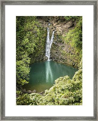 Waterfall Reflections Framed Print by Debbie Karnes