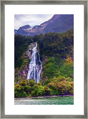Waterfalls At Milford Sound Framed Print
