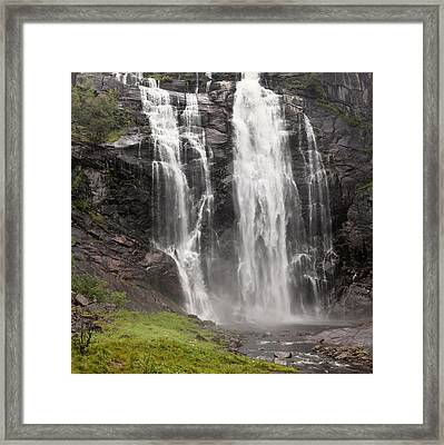 Waterfalls Over A Cliff Norway Framed Print by Keith Levit