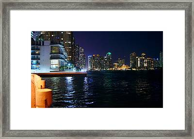 Waterfront By Night Framed Print by Dieter  Lesche