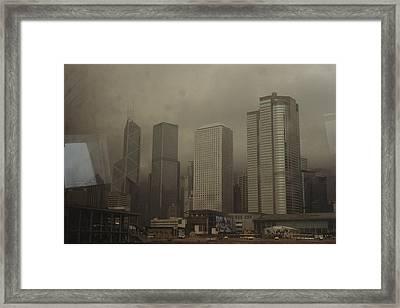 Waterfront Skyline Of Hong Kong Island Framed Print by Justin Guariglia