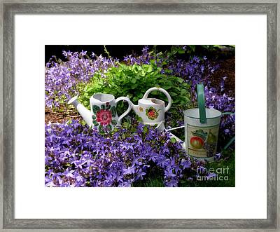 Framed Print featuring the photograph Watering Cans And Campanula by Tanya  Searcy