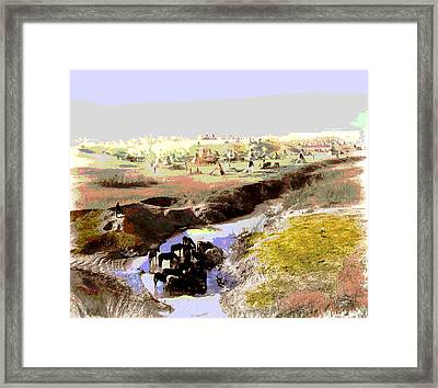 Watering The Horses Framed Print by Charles Shoup