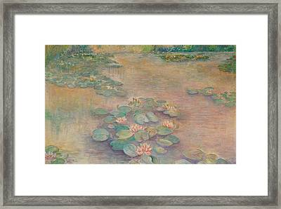 Waterlilies At Dusk Framed Print by Rita Bentley