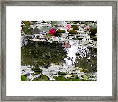 Framed Print featuring the digital art Waterlilies by Victoria Harrington