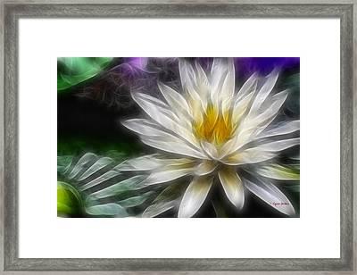Framed Print featuring the digital art Waterlily In Pseudo-fractal by Lynne Jenkins