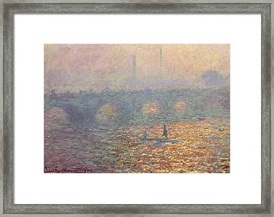Waterloo Bridge Framed Print by Claude Monet