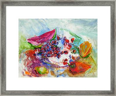 Watermelon And Pepper Framed Print by Jelena Cholic