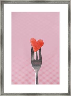 Watermelon Heart Framed Print by Elin Enger