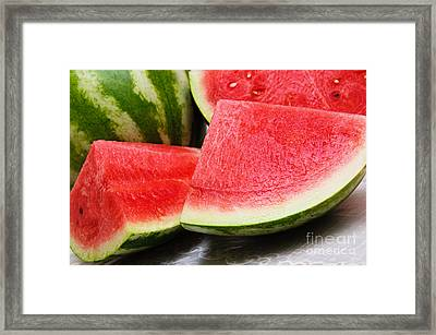 Watermelon In Summertime Framed Print by Andee Design