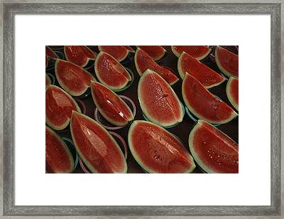 Watermelon Slices Sold At A Market Framed Print by Todd Gipstein