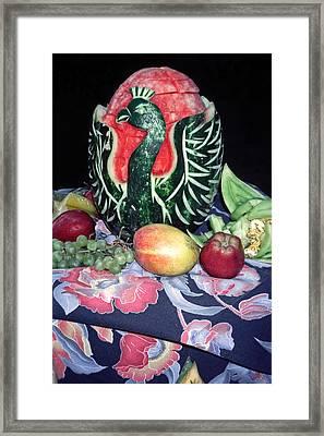 Watermelon Swan Framed Print by Sally Weigand